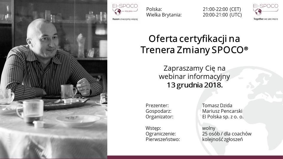 Oferta certyfikacji na Trenera Zmiany SPOCO® – TYLKO dla coachów (webinar)