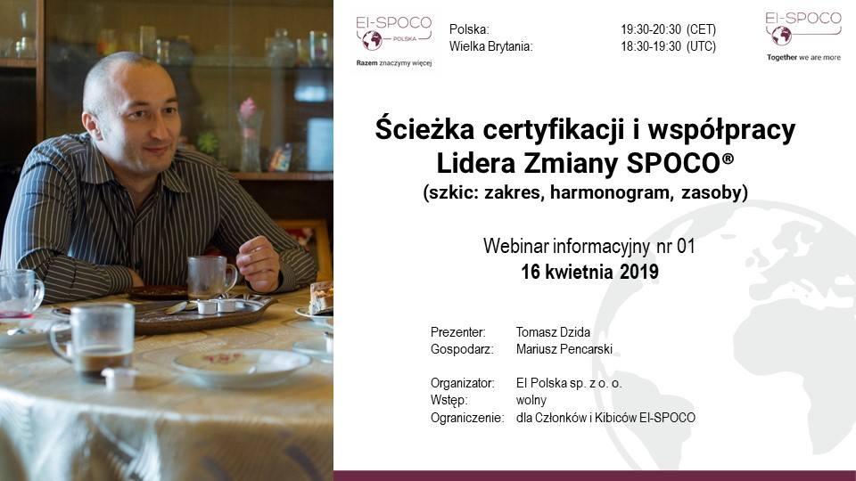 Ścieżka certyfikacji i współpracy Lidera Zmiany SPOCO – webinar